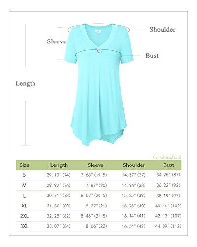 Manches Tunique Nu T Bleue Blouse Et Courtes Epaule Casual Femmes Shirt Ca La Kra Chemise Lumire TYwTv