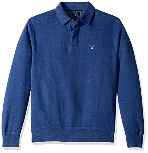 GANT Men's The Sacker Ribbed Polo Sweater, Indigo Blue -