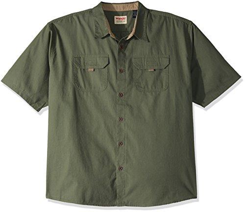 (Wrangler Authentics Big and Tall Authentics Men's Big & Tall Short Sleeve Canvas Shirt, beetle, 3XL )