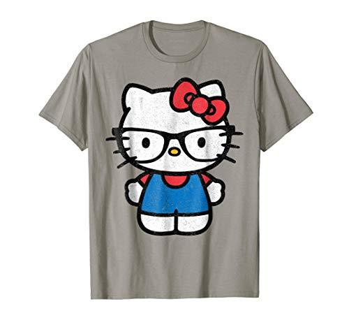 Hello Kitty Distressed Nerd Glasses Tee Shirt