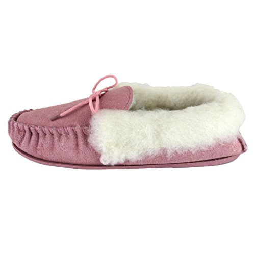 Upper Lambswool Sheepskin Deluxe Suede Ladies Pink Sole Moccasin Hard Slippers with World qttvanBrp