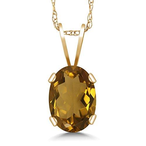 Gem Stone King 0.70 Ct Oval Whiskey Quartz 14K Yellow Gold Pendant