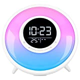 FiveHome All -in-One Wake Up Light Alarm Clock with FM Radio, White Noise Sound Machine,Sleep Timer,10 Color Night Light & 23 Soothing S