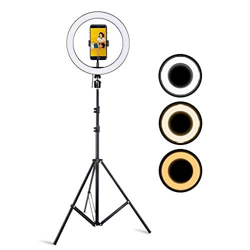ehook Ring Light – 18 inches Ring Light with Tripod Stand 9 feet & Phone Holder for Live Streaming & YouTube Video, Dimmable Desk Makeup Ring Light 18 Inch with Stand