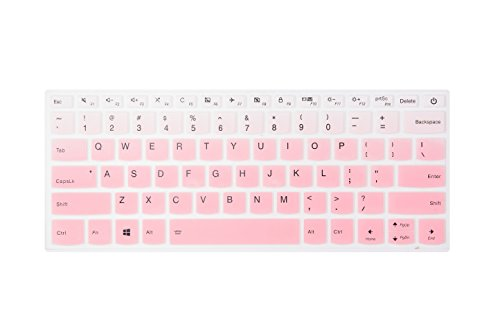Leze - Ultra Thin Silicone Laptop Keyboard Cover Skin Protector for Lenovo Yoga 720 15'', Flex 5 14'', Flex 5 15'' Laptop US Layout - Gradual Pink