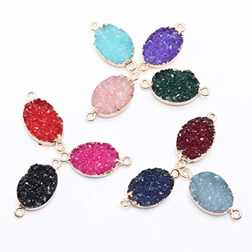 Forise 10pcs New Fashion Faux Druzy Quartz Jewelry Connector Oval Resin Stone Fit for Charms Jewelry Bracelet Accessories (Oval)