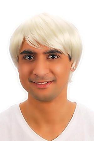 80s 90s cityboard Cosplay negro/de la estrella del Pop corta chico Rubio pelo disfraz peluca: Amazon.es: Hogar