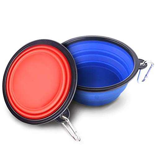 2 Collapsible, Portable Pet Travel Bowls -- Food, water feeder for camping, travel - Food-grade - Carabiner clip for easy storage - Dishwasher-Safe - Low footprint - Feed dog/cat anywhere, anytime