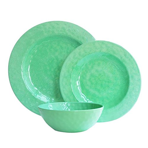 American Atelier 12 Piece Round Dinnerware Set, (Green Round Dish)