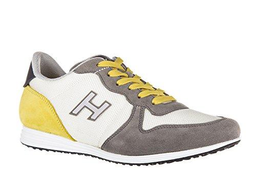 Hogan chaussures baskets sneakers homme en daim h205 olympia h flock gris