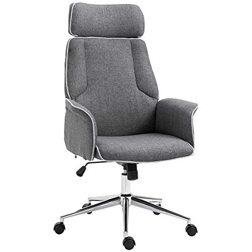 Vinsetto Adjustable Linen Fabric Swivel Home Office Chair with Arms, Upholstered, High Back, Grey