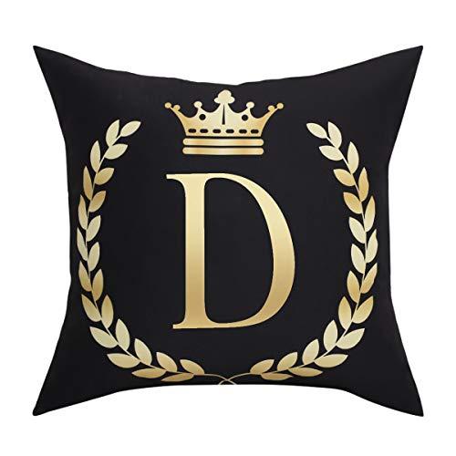 BLEUM CADE Black Pillow Cover Throw Pillow Case English Alphabet D Throw Pillow Case Modern Cushion Cover Square Pillowcase Decoration for Sofa Bed Chair Car