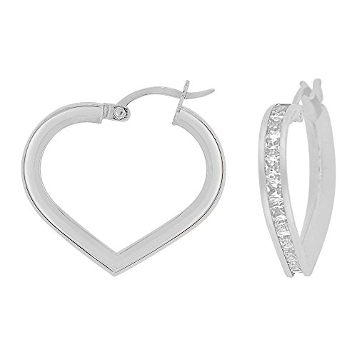 14k Gold White Rhodium, Heart 3mm Channel Set Created CZ Earring 20mm Inner Diameter by GiveMeGold