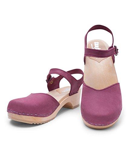 Saragasso Clog Sandgrens Women Low For Sandals Berry Heel Wooden Swedish IwqxqSA68