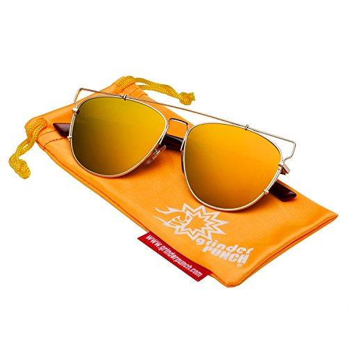 grinderPUNCH Futuristic Metal Contemporary Mirror Flat Aviator Sunglasses Red - Shades Futuristic