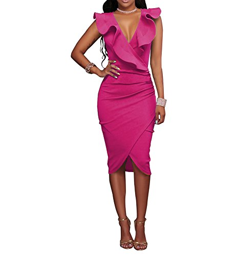 Static Female Women's Ruffles V-Neck Ruched Cocktail Club Evening Party Falbala Bodycon Dress S Rose