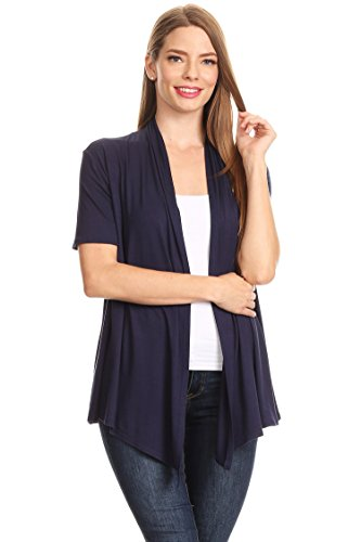 Women's Plus Size/Reg Solid & Printed Open Front Draped Jacket Cardigan MADE IN USA]()