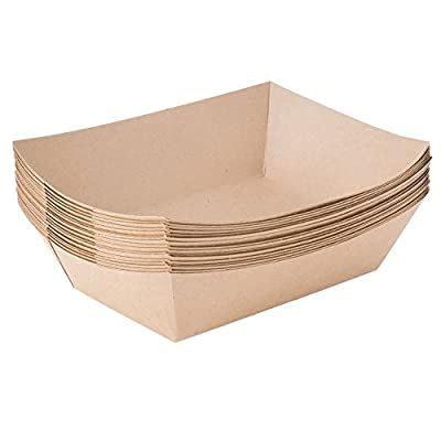 EcoWare Paper Food Trays 1 LB, White Paper, Compostable, Great for Picnics, Carnivals, Hot Dogs, Nachos, Fries (250 Trays)