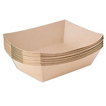 Papel alimentos bandejas 2 1/2 lb, papel de estraza, biodegradable, compostable, ideal para Picnics, carnavales, Hot Dogs, Nachos, patatas fritas (250 Bandejas) por – Ecoware -: Amazon.es: Amazon.es