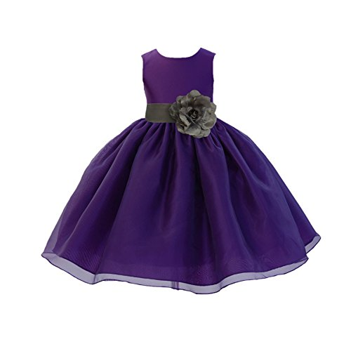 ekidsbridal Purple Satin Bodice Organza Skirt Flower Girl Dress Christening Dress 841S 4 ()