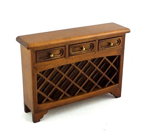 Melody Jane Dolls Houses House Miniature Furniture Walnut Wine Steward Console Table With Rack 1:12