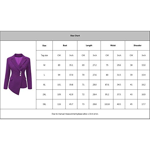 Donna Coat 1 Skinny Manica Comodo Colore Camicia Blazer Fit Irregular Autunno Lila Bavero Slim Business Outwear Puro Button Lunga R4RqarFw