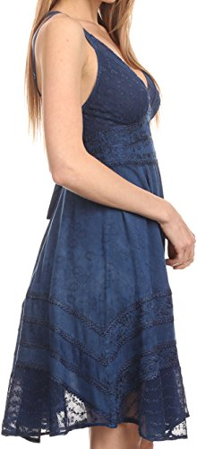 Sakkas 16116 - Fedelle Sleeveless Mid-Length Summer Dress With Cross Over Open Back Straps - Navy - 1X/2X