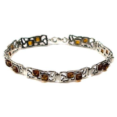 Honey Amber Sterling Silver Rectangular Bracelet 7