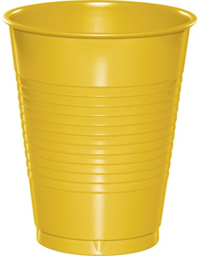 Creative Converting 28102181 Touch of color Plastic Cups (20 Count), 16 oz, School Bus Yellow