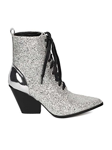 Heel Lace Pointy Women HJ62 Toe Up Silver Block CAPE Media Bootie Encrusted Mix Glitter ROBBIN IzYxPY