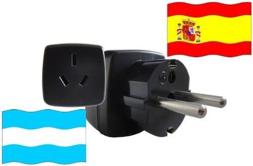 Adaptador de Viaje a España de Argentina ES-AR Enchufe de Viaje Epaña (Protección Contacto, 2200 Vatios): Amazon.es: Bricolaje y herramientas