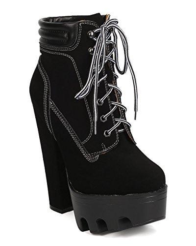Women Nubuck Lace Up Lug Sole Platform Block Heel Bootie GC93 - Black (Size: 8.0)