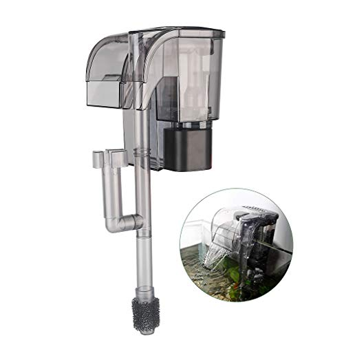 boxtech Rimless Aquarium Multi-Function Hang On Filter - 3 in 1 External Power Waterfall Suspension Oxygen Pump - Slim Hanging Activated Carbon Biochemical Wall Mounted Fish Tank Filtration