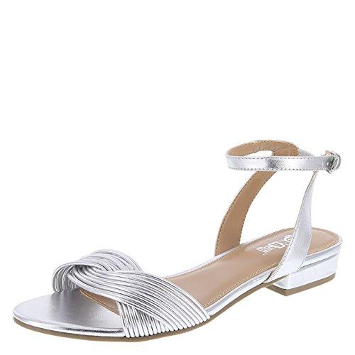 9b2b867b2b1 Brash Silver Women s Swann Flat Sandal 8.5 Regular