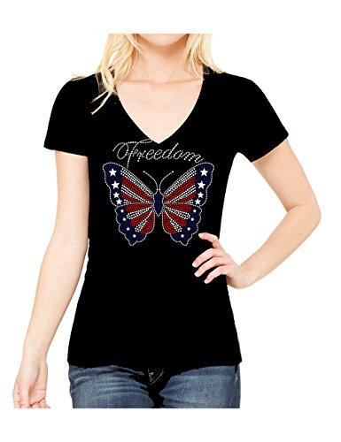 Butterfly-Flag-Rhinestone-July-4th-Veterans-Womens-V-Neck-Short-Sleeve-Tee-Shirt
