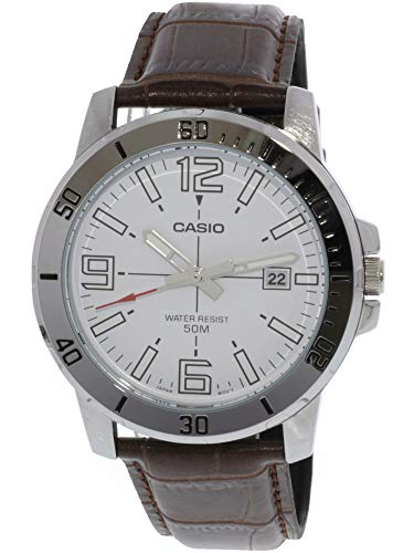 (Casio MTP-VD01L-7BV Men's Enticer Stainless Steel White Dial Casual Analog Sporty Watch)