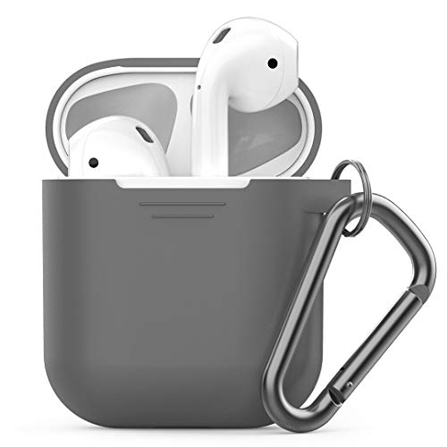 PodSkinz Keychain AirPods Case with Carabiner Compatible with Apple Airpods 1 & AirPods 2 [Front LED Not Visible] (Grey)