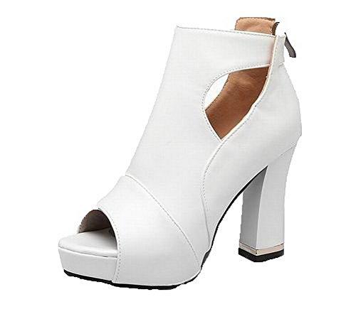 Sandals Heels Pu CCALP014426 Zipper VogueZone009 Open Solid Women's White High Toe y6Szw78zq