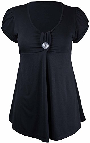 Taille Grande Broche Bouton Noir Tunique Ronde Encolure Hanger Courte Manche Femme Purple gnq6WFq