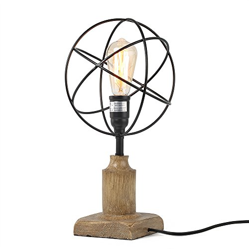 LALUZ Cage Desk Lamp Sphere Table Lamp (Black Forged Table Lamp)