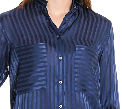 Camicia Blu Seta Donna Xacus 35244005 8IqSZwdx