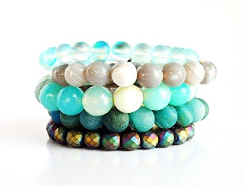The Ocean Set is a combination of 5 elastic gemstone bracelets (Seductive Outfit Ideas)