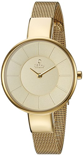 Obaku Women's Quartz Stainless Steel Dress Watch, Color:Gold-Toned (Model: V149LXGGMG)