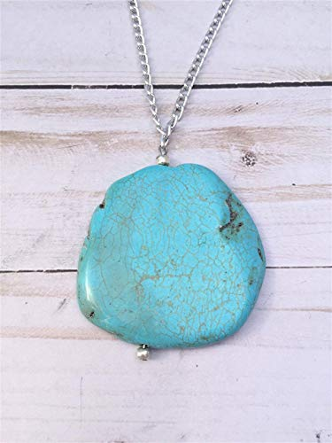 - Turquoise Pendant Necklace with 32 inch Silver Chain