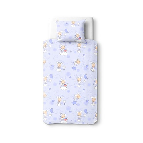 Baby Happy Lambs (Blue) - SoulBedroom 100% Cotton Bed Set (Duvet Cover 39