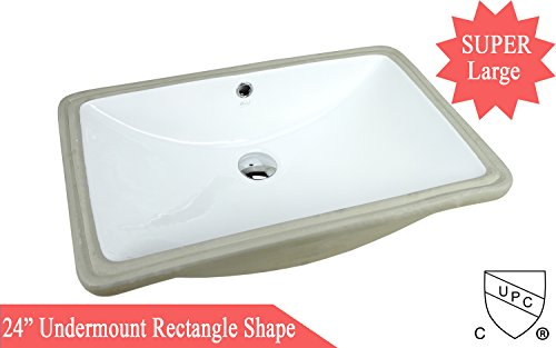 SUPER LARGE 24 Inch Rectrangle Undermount Vitreous Ceramic Lavatory Vanity Bathroom Sink Pure White RP492P by KINGSMAN
