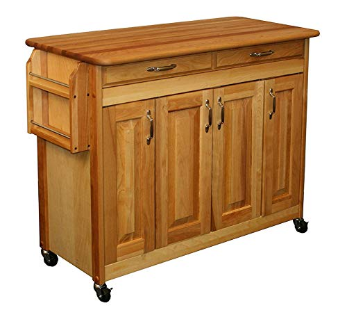 - Wood & Style Furniture Butcher Block Island with Raised Panel Doors One Size Brown Home Office Commerial Heavy Duty Strong Décor