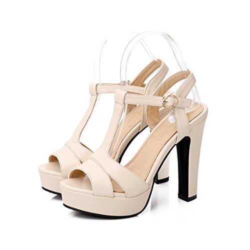 Milesline Women's Peep Toe High Heel T-Strap Platform Sandals