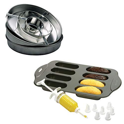(Set) Cream Canoe Baking Set & Checkerboard Cake Pan Set - Includes Recipes