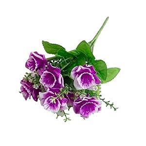 MARJON Flowers1 Bouquet Artificial Fake Babysbreath Daffodil Flower Plant Home Office Decor - Light Purple 63